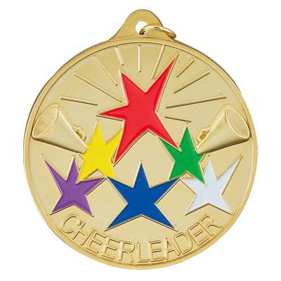 """2-1/2 Inch High Relief Enameled """"Cheerleader"""" with Stars and Microphone Medal"""