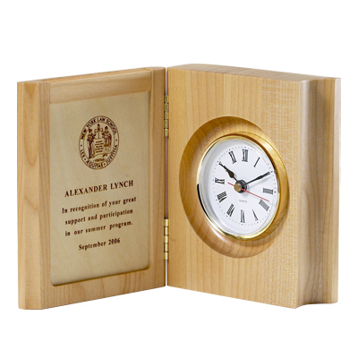4-3/8x 5-1/2 Inch Folding Maple Wood Finish Quartz Clock and Photo