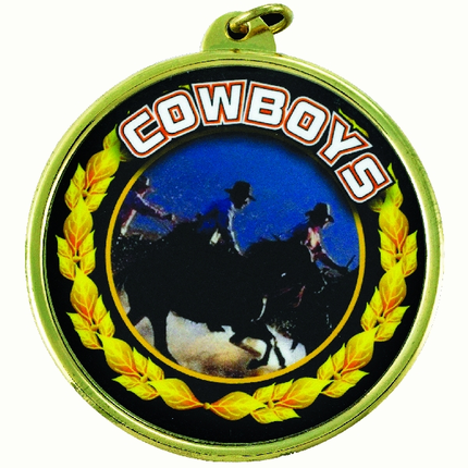 """2-1/4 Inch Medal Frame with 2 Inch """"Cowboys"""" Mascot Mylar Insert Label"""