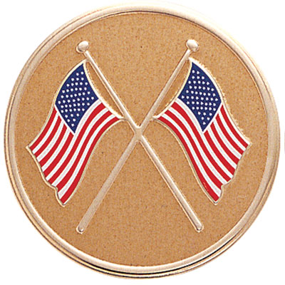 7/8 Inch Etched Enameled Crossed American Flags Medallion Insert Disc