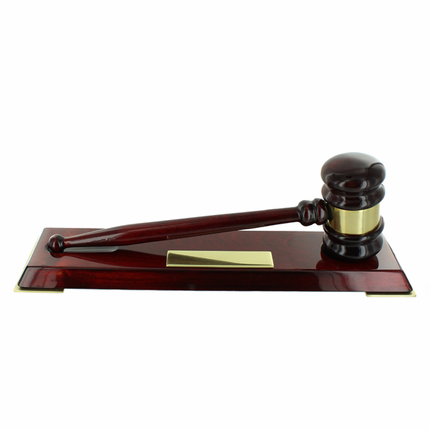 DELUXE ROSEWOOD PIANO FINISH GAVEL ON BASE