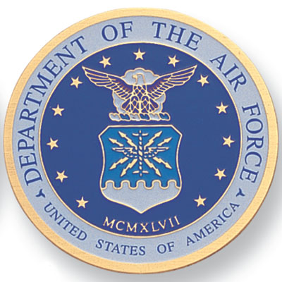 7/8 Inch Etched Enameled Seal of the Department of the U.S. Air Force Medallion Insert Disc
