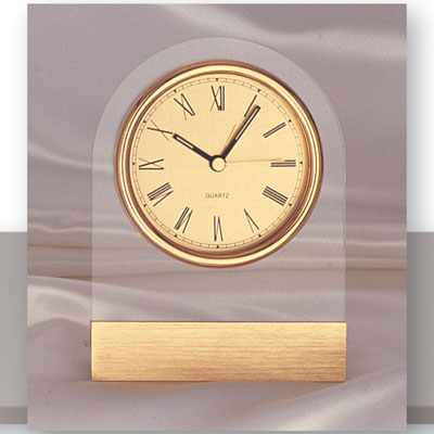 5-3/4 Inch Acrylic Lucite Desk Clock with Gold Trim