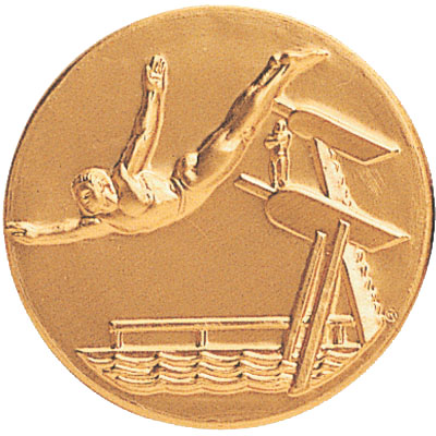 """1 Inch Stamped Male Diver  """"Swan Dive"""" and Diving Board Medallion Insert Disc"""