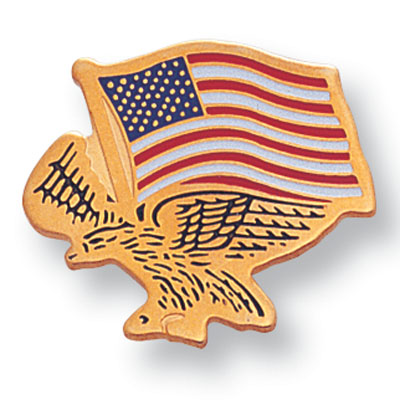3/4 Inch American Flag with Flying-Eagle Enameld Lapel Pin