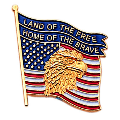 1 Inch Eagle on American Flag Enameled Lapel Pin
