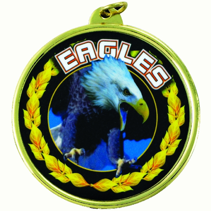 "2-1/4 Inch Medal Frame with 2 Inch ""Eagles"" Mascot Mylar Insert Label"