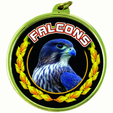 "2-1/4 Inch Medal Frame with 2 Inch ""Falcons""  Mascot Mylar Insert Label"