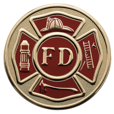 7/8 Inch Etched Enameled Fire Department Insignia Medallion Insert Disc