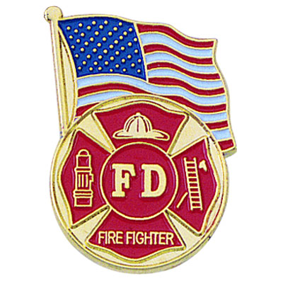 1 Inch American Flag-Fire Department Enameled Lapel Pin