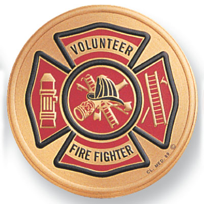 7/8 Inch Etched Enameled Fire Fighter Volunteer Insignia Medallion Insert Disc