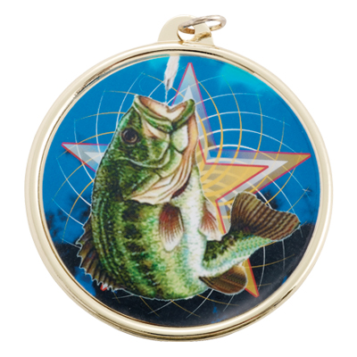2-1/4 Inch Medal Frame with 2 Inch Fishing Mylar Insert Label