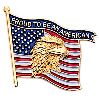 """7/8 Inch """"Proud to Be an American"""" Flag Enameled Pin"""