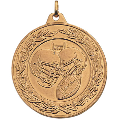 2 Inch Scalloped and Wreath Border Football Helmets and Football Medal