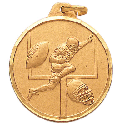 1-1/4 Inch Diamond Cut Border Football Player with Field Goal Post, Football, and Helmet Medal