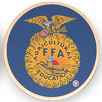 7/8 Inch Etched Enameled Future Farmers of America Insignia Medallion Insert Disc