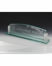 10 Inch Gl Desk Name Plate With Silver Aluminum Corners