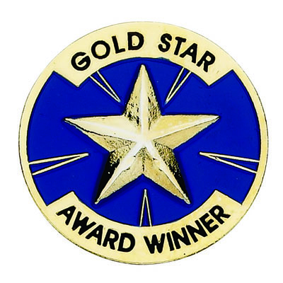 "1 Inch ""Gold Star Award Winner"" with Star Enameled Lapel Pin"