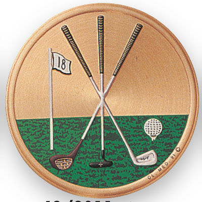 2 Inch Litho Embossed Golf with Golf Clubs Medallion Insert Disc