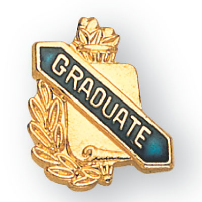 """5/8 Inch Gold """"Graduate"""" with Torch and Wreath Enameled Lapel Pin"""