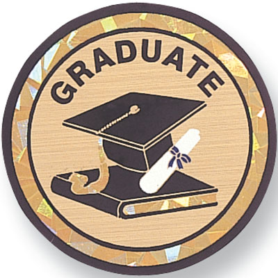 "2 Inch Reflective  ""Graduate"" with Graduation Cap, Scroll, and Book Mylar Insert Label"