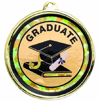 "2-1/4 Inch Medal Frame with 2 Inch ""Graduate"" with Graduation Cap and Scroll Mylar Insert Label"