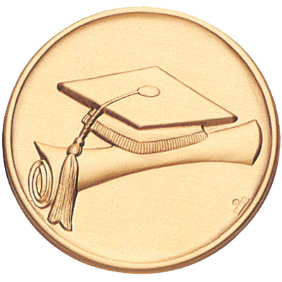 2 Inch Stamped Graduation Cap and Scroll Medallion Insert Disc