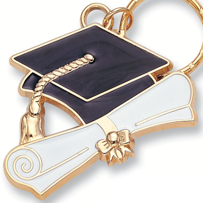 1-1/2 Inch Black Enameled and Gold Graduation Key Ring