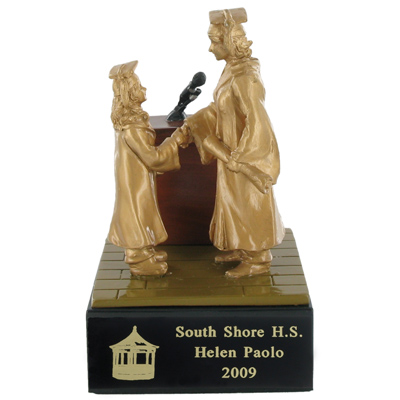 5-1/2 Inch Hand Painted Resin Female Graduation Trophy