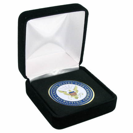2-5/8 x 2-5/8 Inch Black Velour Box-Holds 1-3/4 Inch Medal