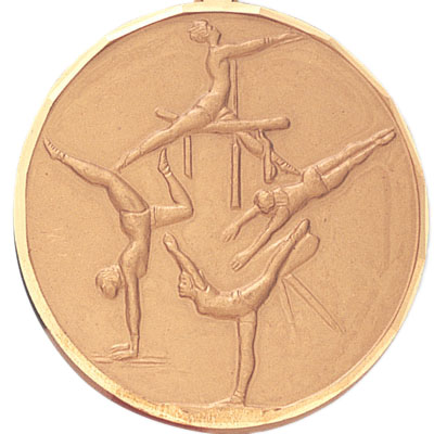 2 Inch Diamond Cut Border Female Gymnist Medal