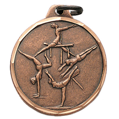 1-1/4 Inch Diamond Cut Border Female Gymnist Medal