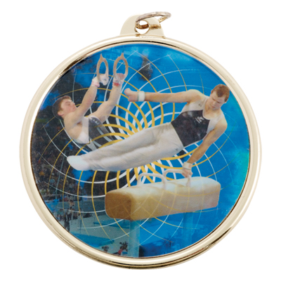 2-1/4 Inch Medal Frame with 2 Inch Male Gymnastics Mylar Insert Label
