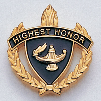 """1 Inch Gold """"Highest Honor"""" with Lamp of Learning and Wreaths Enameled Lapel Pin"""
