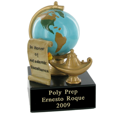 "5 Inch Hand Painted Resin ""In Honor of Academic Excellence"" Trophy"