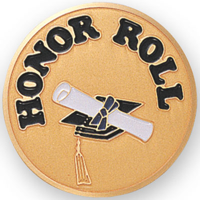 "2 Inch Etched Enameled  ""Honor Roll"" with Graduation Caps with Scroll Medallion Insert Disc"