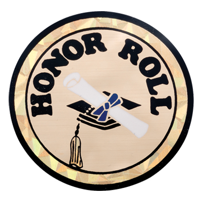 """2 Inch Reflective  """"Honor Roll"""" with Graduation Cap and Scroll Mylar Insert Label"""