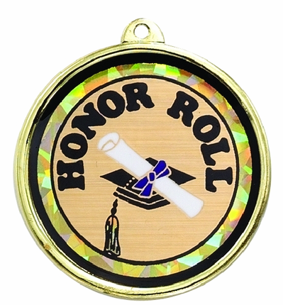 "2-1/4 Inch Medal Frame with 2 Inch ""Honor Roll"" and Graduation Cap and Scroll Mylar Insert Label"