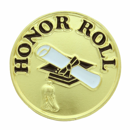 "3/4 Inch Gold ""Honor Roll"" with Graduation Cap and Diploma Scroll Enameled Lapel Pin"