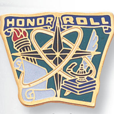"3/4 Inch Gold ""Honor Roll"" with Lamp of Learning and Torch Enameled Lapel Pin"