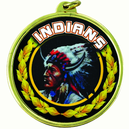 """2-1/4 Inch Medal Frame with 2 Inch """"Indians"""" Mascot Mylar Insert Label"""