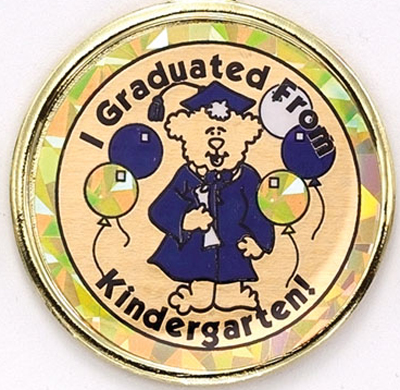 "2 Inch Reflective  ""Graduated From Kindergarten"" with Graduation Bear Mylar Insert Label"