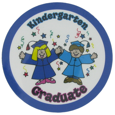 "2 Inch Reflective  ""Kindergarten Graduates"" with Graduation Girl and Boy Mylar Insert Label"