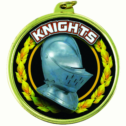 """2-1/4 Inch Medal Frame with 2 Inch """"Knights"""" Mascot Mylar Insert Label"""