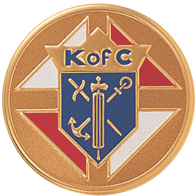 2 Inch Litho Embossed Knights of Columbus Insignia Medallion Insert Disc