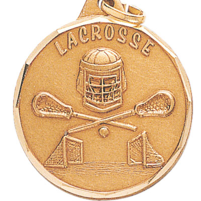 """1-1/4 Inch Diamond Cut Border """"Lacrosse"""" with Helmet, Goal, and Sticks Medal"""