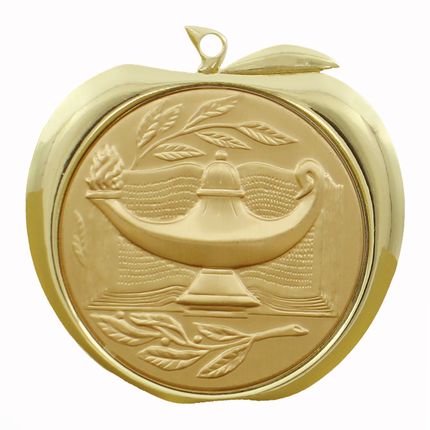 2 Inch Gold Lamp of Learning and Book Apple Medal