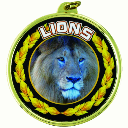 "2-1/4 Inch Medal Frame with 2 Inch ""Lions"" Mascot Mylar Insert Label"