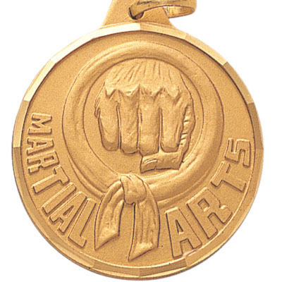 "1-1/4 Inch Diamond Cut Border ""Martial Arts"" Punch Medal"
