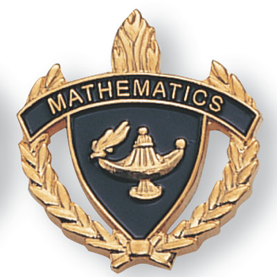 "1 Inch Gold ""Mathematics"" with Lamp of Learning and Wreaths Enameled Lapel Pin"